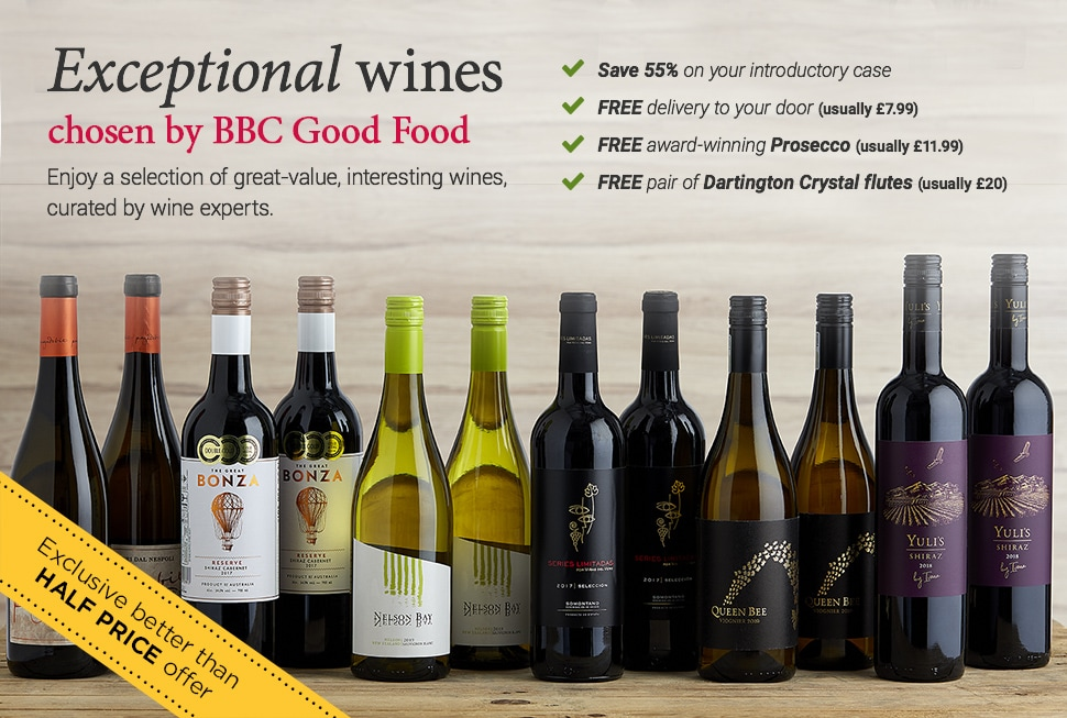 Exceptional wines chosen by BBC Good Food. Enjoy a selection of great-value, interesting wines, curated by wine experts. Save 55% on your introductory case. FREE delivery to your door (usually £7.99. FREE award-winning Prosecco (usually £11.99). FREE pair of Dartington Crystal flutes (usually £20). BBC Good Food Seasons Mix