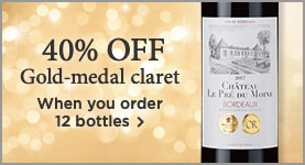 Gold-medal claret just £7.99 a bottle - 40% OFF a case of 12 >