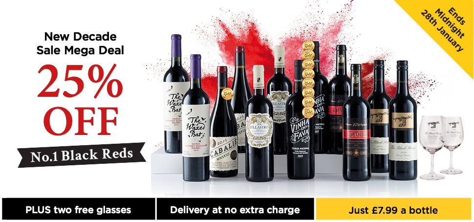 New Decade sale Mega Deal 25% OFF no.1 Black Reds. Free wines Glasses and Free Standard delivery