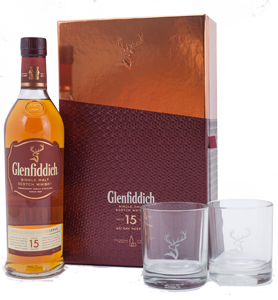 Glenfiddich 15 year-old Scotch Whisky Gift Set with 2 glasses (70cl) NV