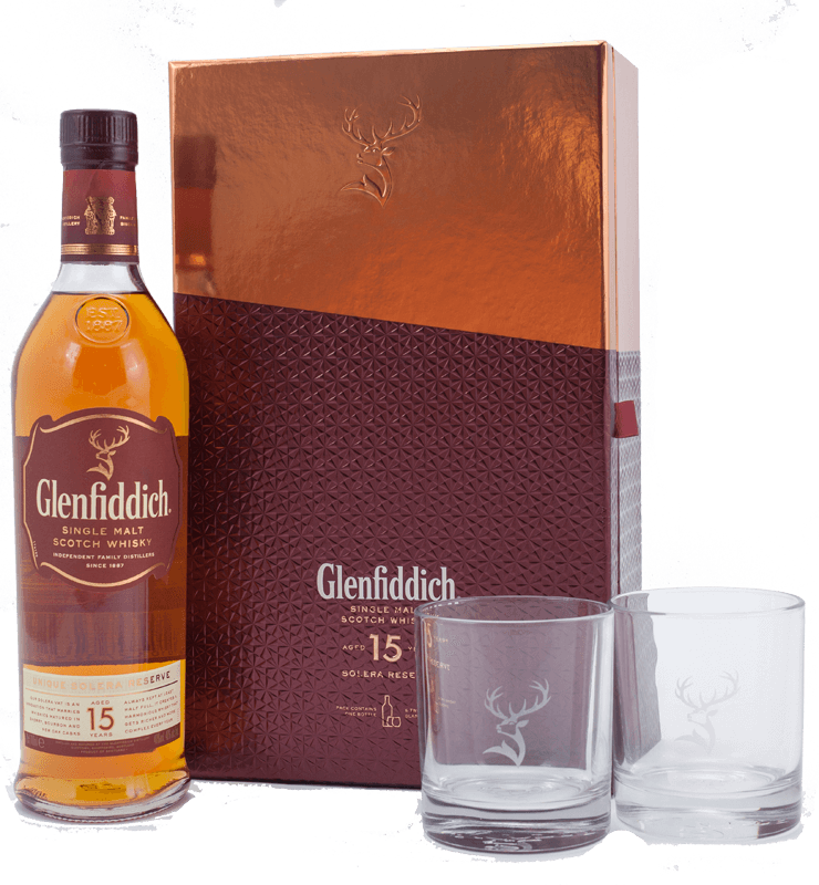 Glenfiddich 15 year-old Scotch Whisky Gift Set with 2 glasses ...