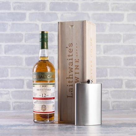First Cask Benrinnes 12 Year Whisky with Hip Flask Gift 2004