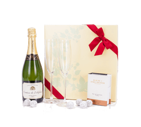 Champagne Truffles and Dartington Flutes Gift