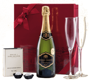 Champagne, truffles and Dartington flutes Gift Set