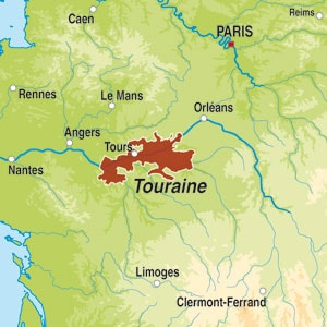 Map showing Touraine AOC